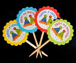 Party Hats Theme<br>Personalized Cupcake Toppers / Picks