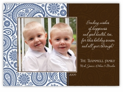 Passion Paisley Blue & Brown Photo Holiday Card