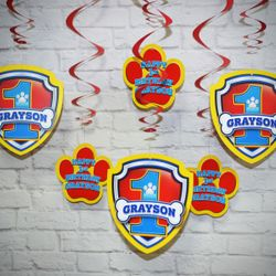 """Paw Patrol Birthday Party Personalized """"Spinners"""" Hanging Decorations"""