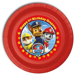 """Paw Patrol Birthday Personalized Party Plates 9"""" Meal Size"""