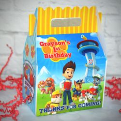 Paw Patrol First Birthday Party Gable Favor Box