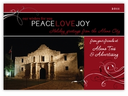Peace Love Joy Alamo Corporate Holiday Photo Card