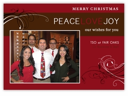 Peace Love Joy Corporate Holiday Photo Card