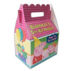 Peppa Pig Party Personalized Gable Favor Box