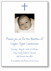 Photo Cross Boy Baptism Invitation