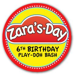 """Play-Doh Birthday Party Personalized 2.25"""" Glossy Stickers"""