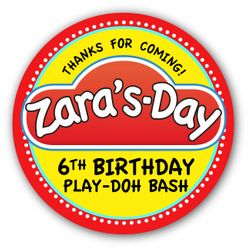 """Play-Doh Birthday Party Personalized 3"""" Glossy Stickers"""