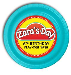 """Play-Doh Personalized Party Plates 7"""" Cake & Snack Size"""
