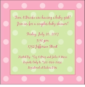 Polka Dots on Square Pink Invitation