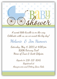 Precious Pram Boy Baby Shower Invitation