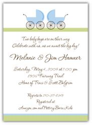 Precious Prams Boy Twins Baby Shower Invitation