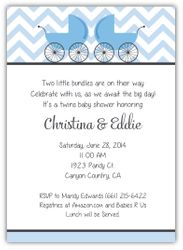 Precious Prams Chevron Blue & Charcoal Boy Twins Baby Shower Invitation