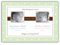 Precious Print Girl-Boy Twins Photo Birth Announcement