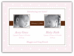 Precious Print Twin Girls Photo Birth Announcement