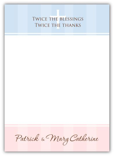 Pure Class Baptism Girl Boy Twins Thank You Note Card