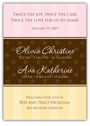 Pure Class Twin Girls Birth Announcement