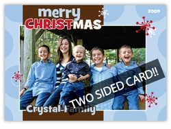 Sassy Spots in Blue 2 sided Photo Christmas Card
