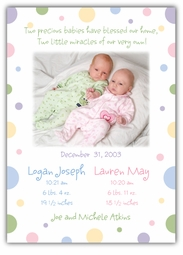 Seeing Spots Girl-Boy Twins Photo Birth Announcement