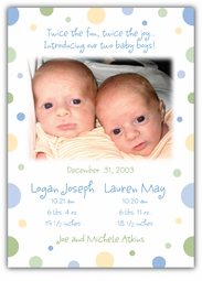Seeing Spots Twin Boys Photo Birth Announcement