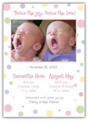 Seeing Spots Twin Girls Photo Birth Announcement