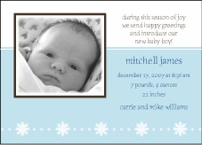 Serendipity Boy Holiday Photo Birth Announcement