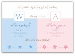 Serendipity Girl-Boy Twins Birth Announcement
