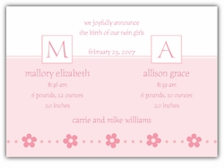 Serendipity Twin Girls Birth Announcement