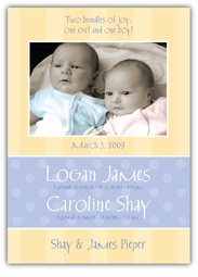 Serenity Girl-Boy Twins Photo Birth Announcement