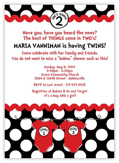 Seuss Spots Thing 1 & Thing 2 on Black Twins Baby Shower Invitation