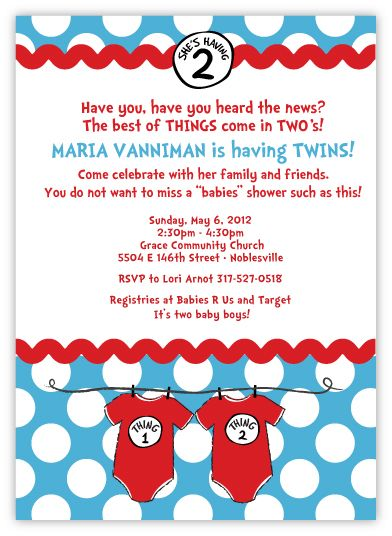 Seuss Spots Thing 1 & Thing 2 on Blue Twins Baby Shower Invitation