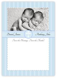 Simply Splendid Baptism Twin Boys Thank You Note Card