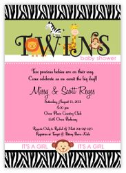 Splendid Safari Animals Twin Girls Baby Shower Invitation