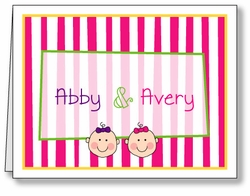 Baby Faces on Stripes Twin Girls Thank You Note Card