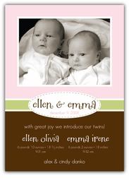 Stylish Stitches Twin Girls Photo Birth Announcement