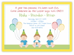 Sweet Babies Boy Triplets Birthday Invitation