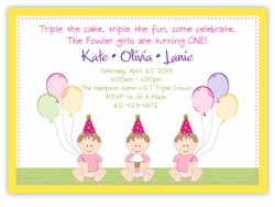Sweet Babies Girl Triplets Birthday Invitation