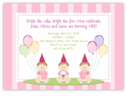 Sweet Babies on Stripes Girl Triplets Birthday Invitation