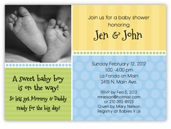 Sweet Feet Photo Boy Baby Shower Invitation