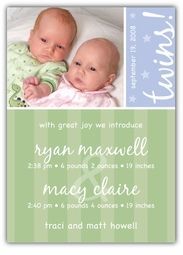 Sweet Joy Girl-Boy Twins Photo Birth Announcement