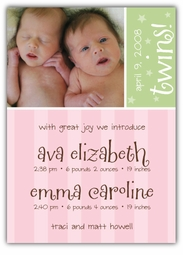 Sweet Joy Twin Girls Photo Birth Announcement