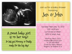Sweet Sonogram Photo Girl Baby Shower Invitation