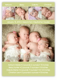Table for Four Soft & Sweet Quadruplets Photo Birth Announcement