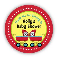"""Thing 1 & Thing 2 Prams Twins Baby Shower 2.25"""" Stickers"""