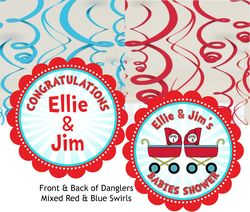 Thing 1 & Thing 2 Prams Twins Baby Shower Spinner Decorations