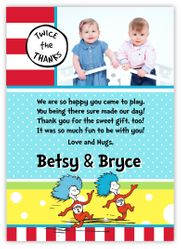 Thing 1 Thing 2 Twin Boys Pre-Printed Thank You Note Card