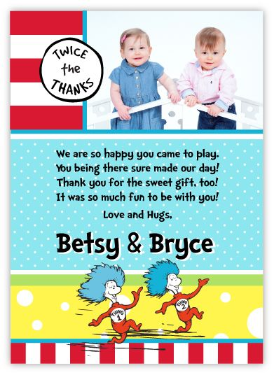 Thing 1 Thing 2 Twins Pre-Printed Thank You Note Card