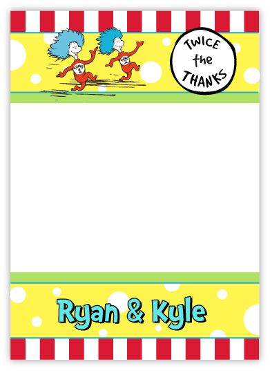 Thing 1 Thing 2 Twins Thank You Note Card
