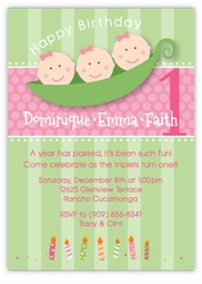 Three Peas in a Pod Girl Triplets Birthday Invitation