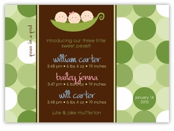 Three Peas in a Pod Triplet B&G Birth Announcement