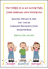 Triplets Cartoon Kids-2 B&G Birthday Invitation